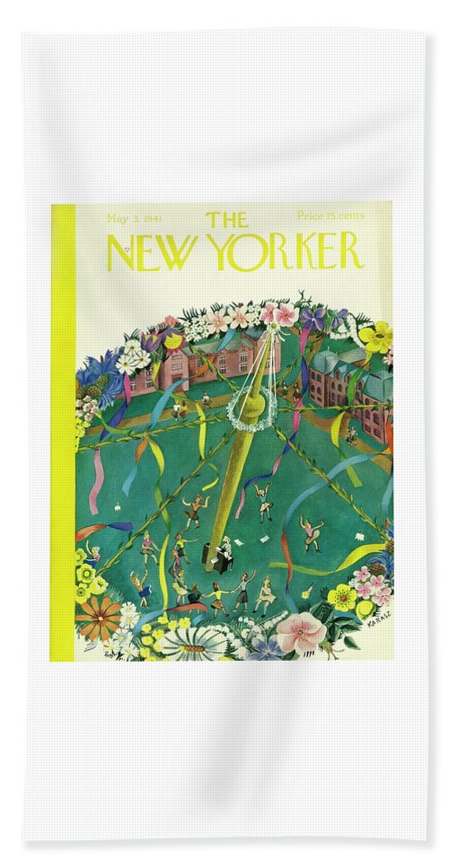 Spring Bath Sheet featuring the painting New Yorker May 3 1941 by Ilonka Karasz