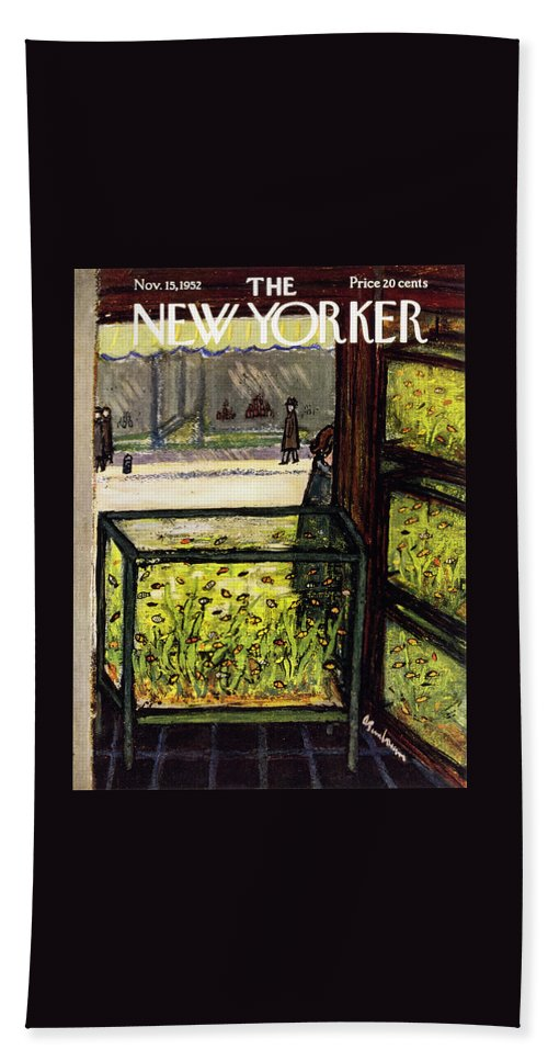 Pet Store Bath Sheet featuring the painting New Yorker November 15 1952 by Abe Birnbaum