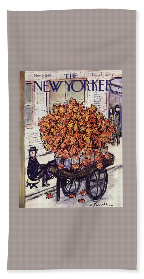 Fall Bath Sheet featuring the painting New Yorker November 8 1958 by Abe Birnbaum
