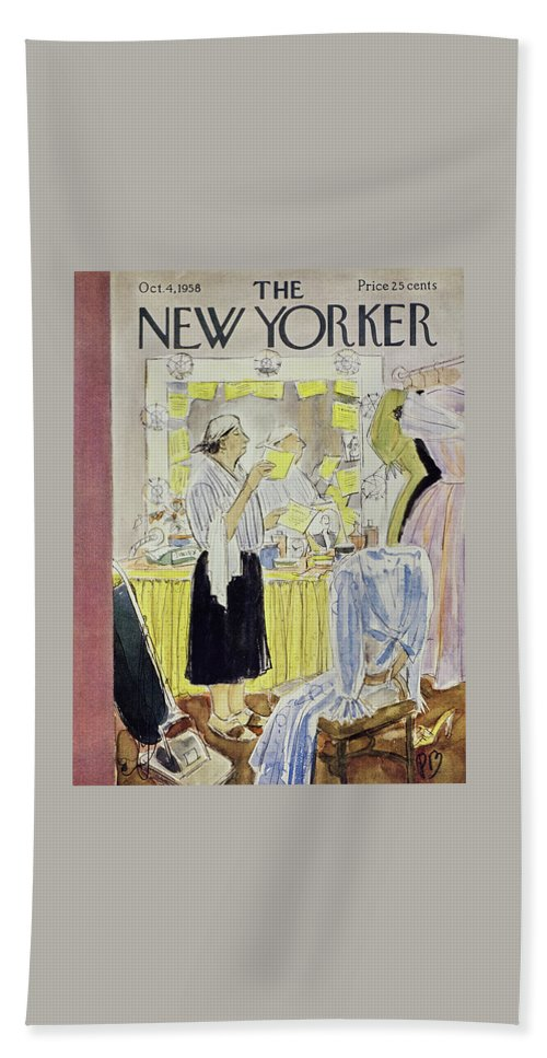 Theater Bath Sheet featuring the painting New Yorker October 4 1958 by Perry Barlow