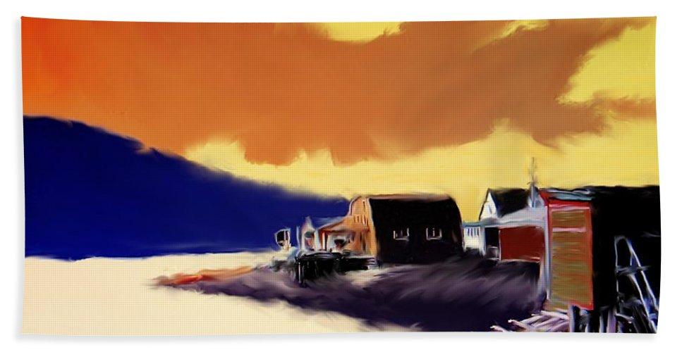 Newfoundland Bath Sheet featuring the photograph Newfoundland Fishing Shacks by Ian MacDonald