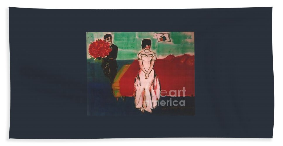 Chinese Bath Towel featuring the painting Newly Weds by Meihua Lu