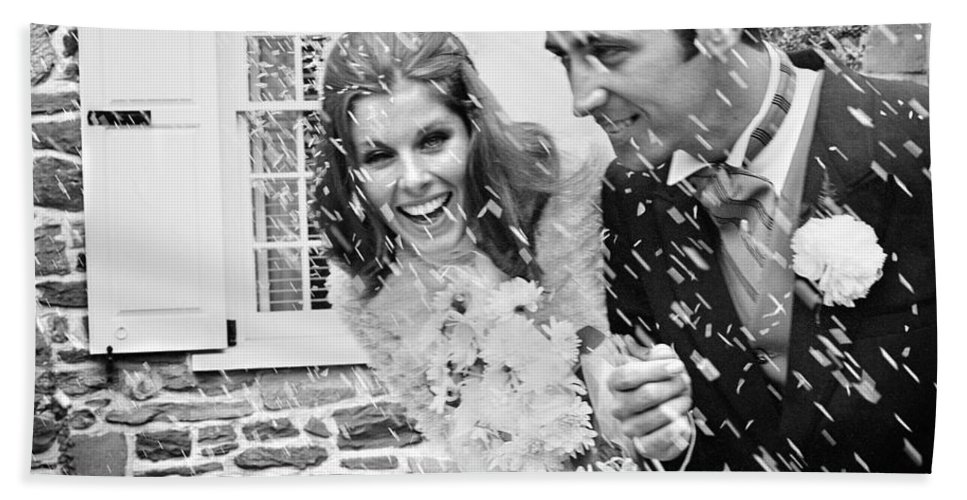 1960s Bath Sheet featuring the photograph Newlyweds Showered With Rice, C.1960-70s by H. Armstrong Roberts/ClassicStock