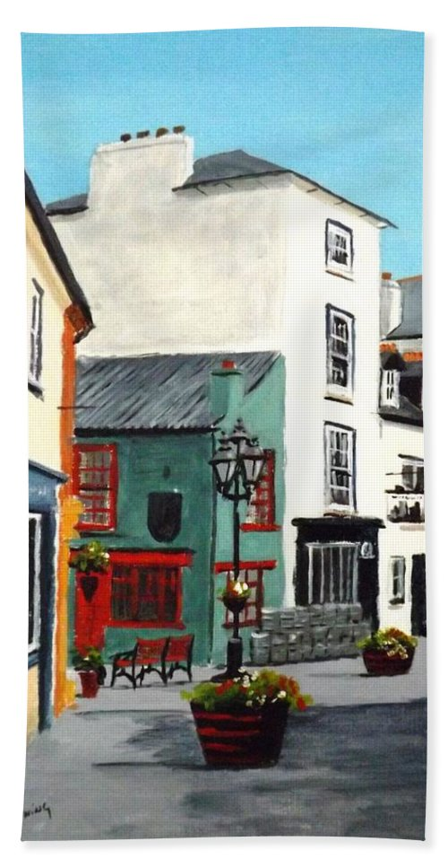 Streetscape Hand Towel featuring the painting Newman's Mall, Kinsale by Tony Gunning