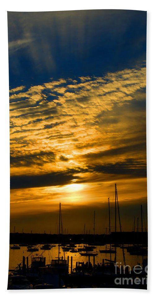Newport Hand Towel featuring the photograph Newport Sunset by Ray Konopaske