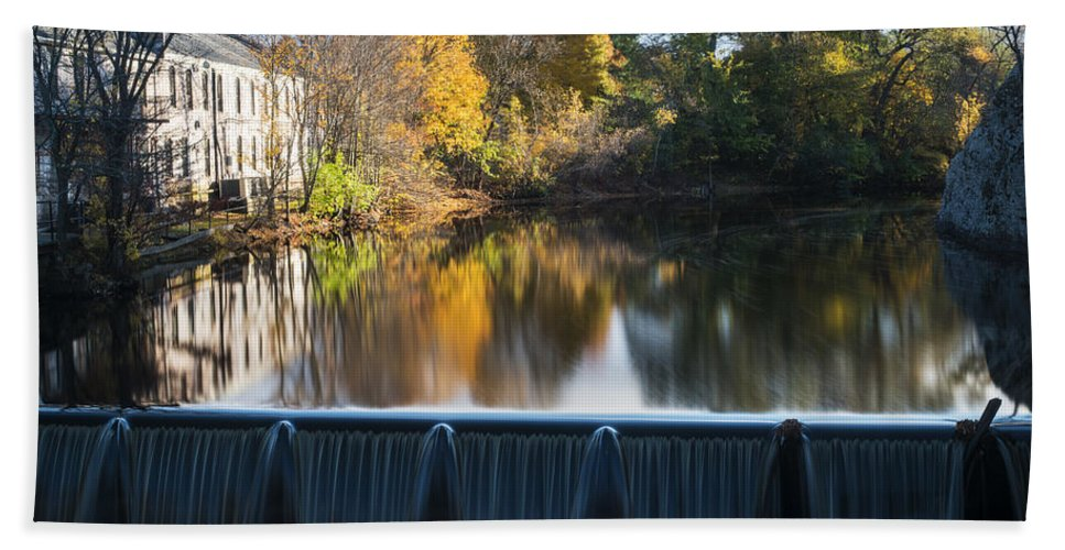 Newton Bath Sheet featuring the photograph Newton Upper Falls Autumn Waterfall Reflection by Toby McGuire