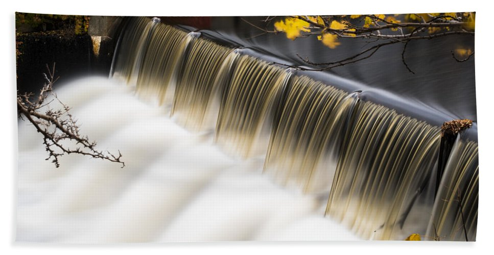 Newton Bath Sheet featuring the photograph Newton Upper Falls Autumn Waterfall by Toby McGuire