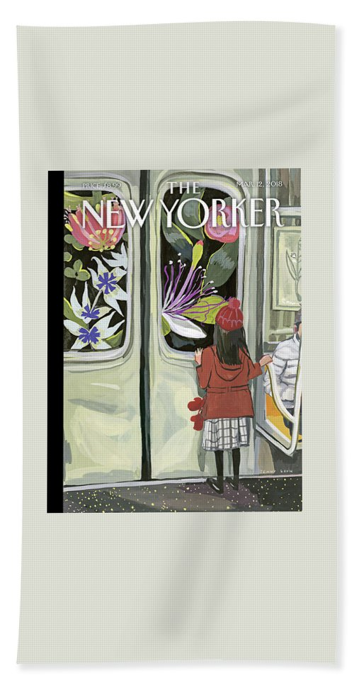 Next Stop: Spring Bath Sheet featuring the painting Next Stop Spring by Jenny Kroik