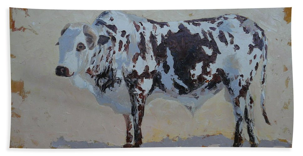 Landscape Hand Towel featuring the painting Nguni Bull by Yvonne Ankerman