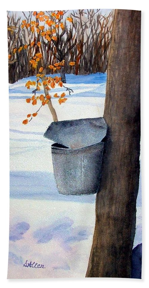 Sap Bucket. Maple Sugaring Bath Sheet featuring the painting Nh Goldmine by Sharon E Allen