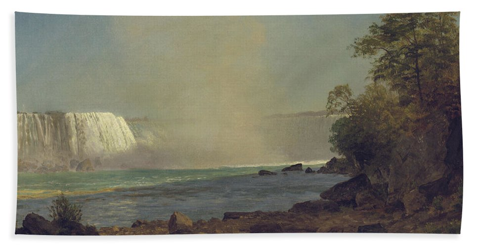 Waterfall; American; Canadian; Landscape; Natural; Phenomenon Bath Sheet featuring the painting Niagara Falls by Albert Bierstadt