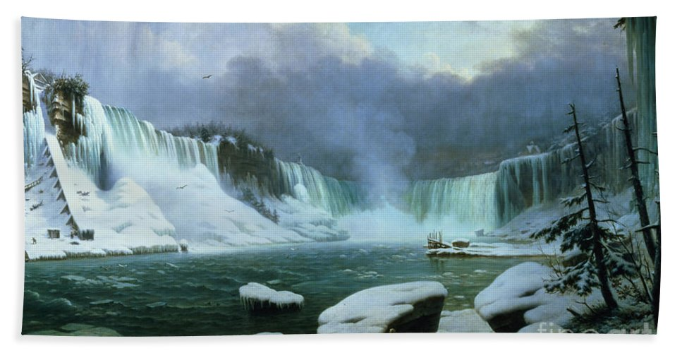 Niagara Falls (oil On Canvas) By Hippolyte Victor Valentin Sebron (1801-79) Hand Towel featuring the painting Niagara Falls by Hippolyte Victor Valentin Sebron
