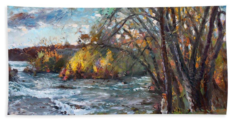 Niagara Falls Lake Hand Towel featuring the painting Niagara Falls Lake by Ylli Haruni