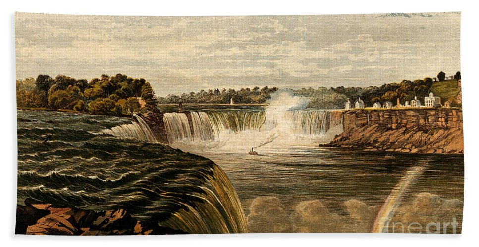 Historic Hand Towel featuring the photograph Niagara Falls With Rainbow, 1860 by Wellcome Images