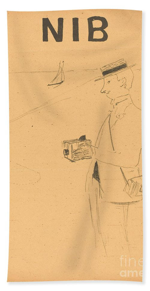 Hand Towel featuring the drawing Nib Or The Amateur Photographer (nib Ou Le Photographe-amateur) [right Recto] by Henri De Toulouse-lautrec