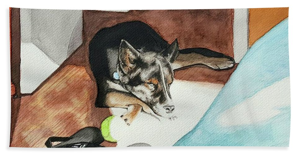Dog Bath Sheet featuring the painting Nibbles by Carolyn Anderson