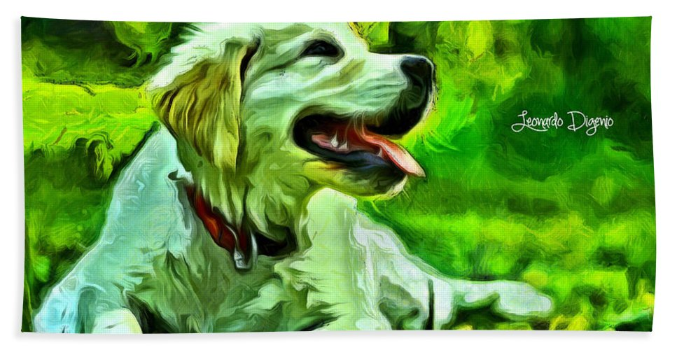Academic Hand Towel featuring the painting Nice Dog by Leonardo Digenio