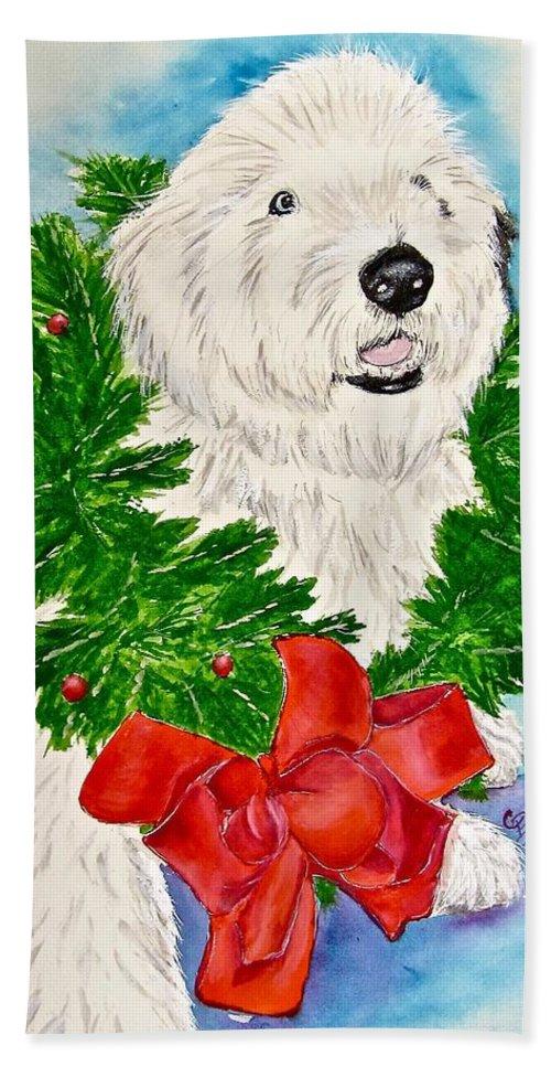 Old English Sheepdog Bath Sheet featuring the painting Nicholas Christmas 2013 by Carol Blackhurst