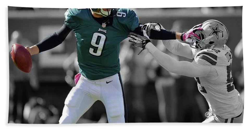 Nick Foles Hand Towel featuring the photograph Nick Foles Eagles Super Bowl 2 by Movie Poster Prints