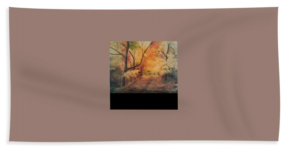Hand Towel featuring the painting Nickleplate Road by Bethany Hannigan