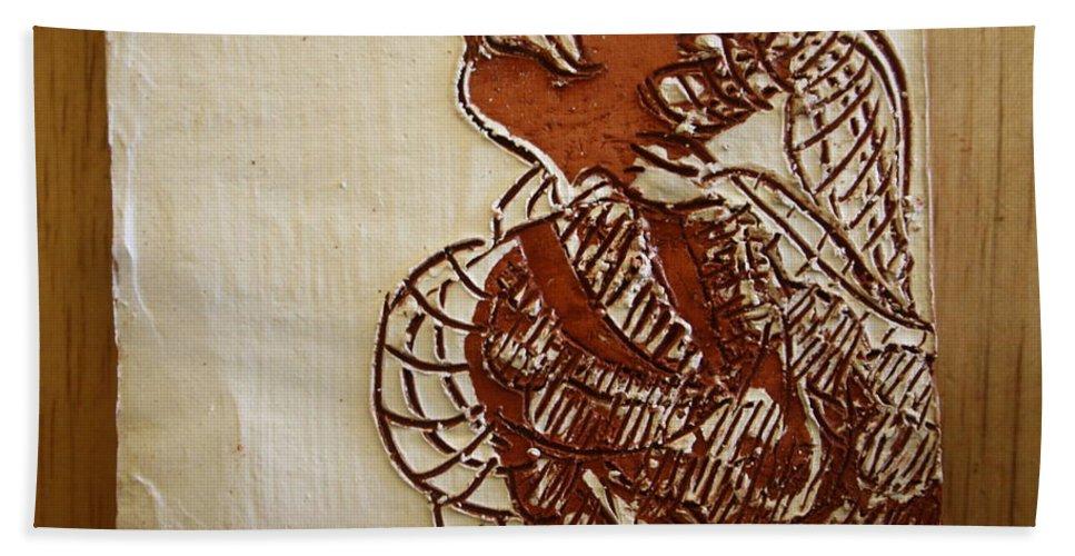 Jesus Bath Sheet featuring the ceramic art Nicole - Tile by Gloria Ssali