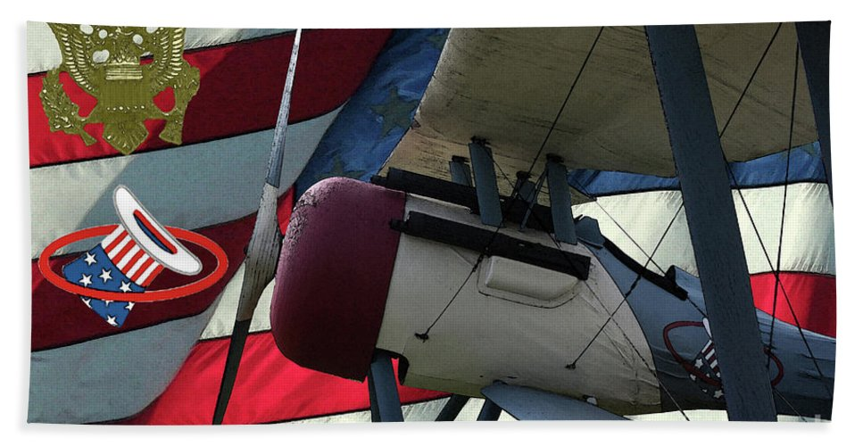 Nieuport 28c Bath Sheet featuring the digital art Nieuport 28c Hat In The Ring by Tommy Anderson