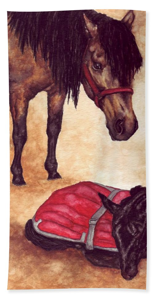 Horse Hand Towel featuring the painting Nifty And Hannah by Kristen Wesch
