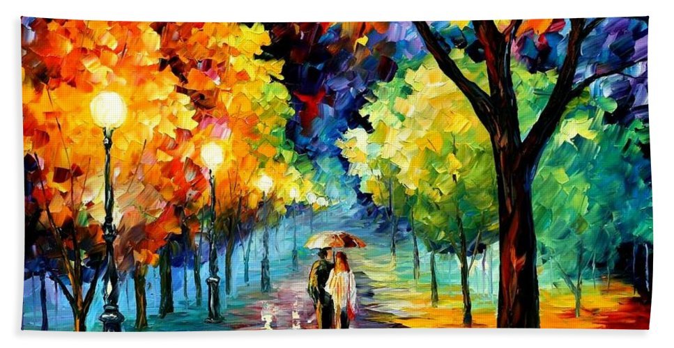 Afremov Hand Towel featuring the painting Night Alley by Leonid Afremov