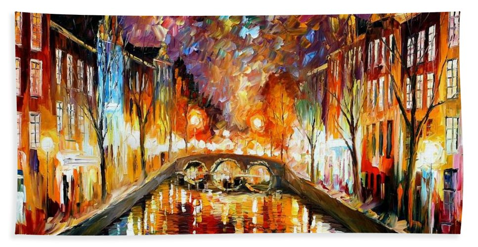 Afremov Hand Towel featuring the painting Night Amsterdam by Leonid Afremov