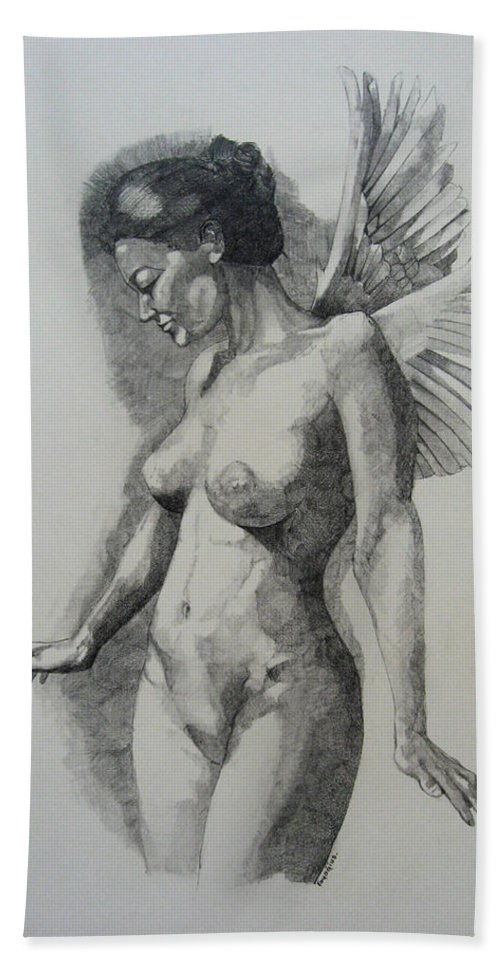 Female Bath Sheet featuring the painting Night Angel by Ray Agius