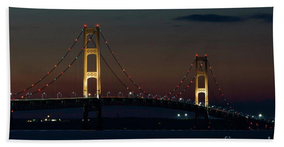 America Bath Sheet featuring the photograph Night At Mackinac Bridge by Jennifer White