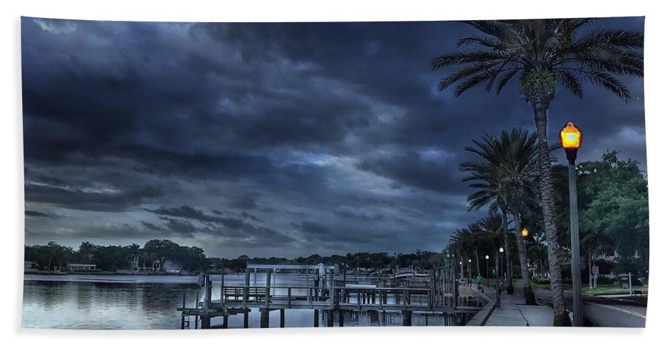 Coffee Pot Bayou Hand Towel featuring the photograph Night At The Bayou by Joe LeGrand