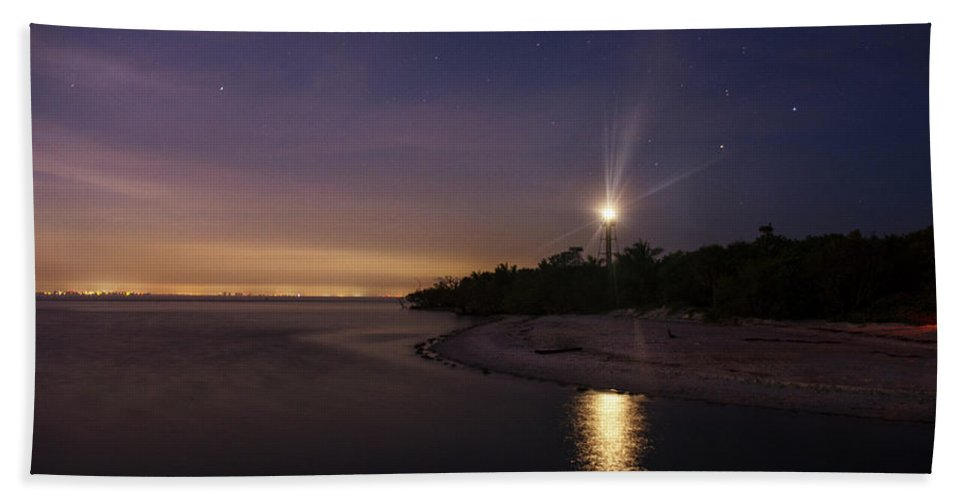 Sanibel Island Bath Sheet featuring the photograph Night At The Sanibel Lighthouse by Chrystal Mimbs
