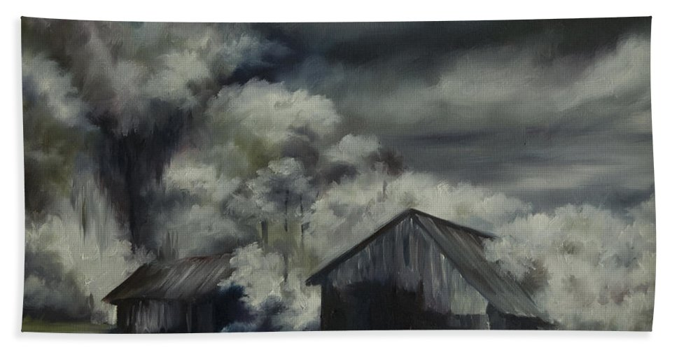 Motel; Route 66; Desert; Abandoned; Delapidated; Lost; Highway; Route 66; Road; Vacancy; Run-down; Building; Old Signage; Nastalgia; Vintage; James Christopher Hill; Jameshillgallery.com; Foliage; Sky; Realism; Oils; Barn Bath Sheet featuring the painting Night Barn by James Christopher Hill
