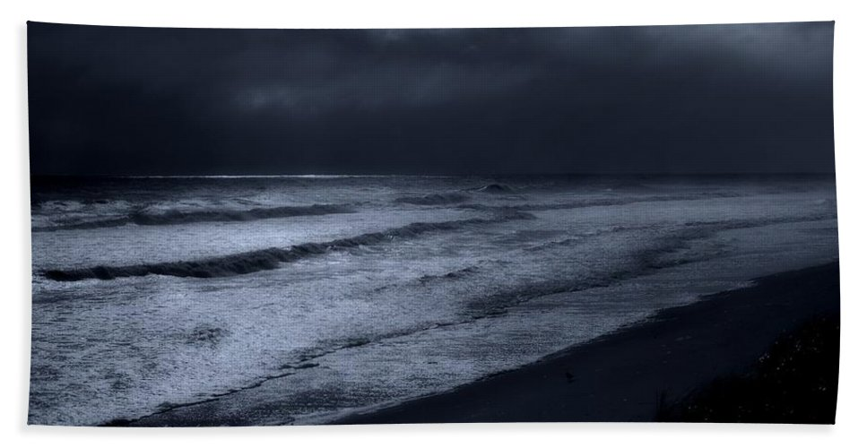 Jersey Shore Bath Sheet featuring the photograph Night Beach - Jersey Shore by Angie Tirado