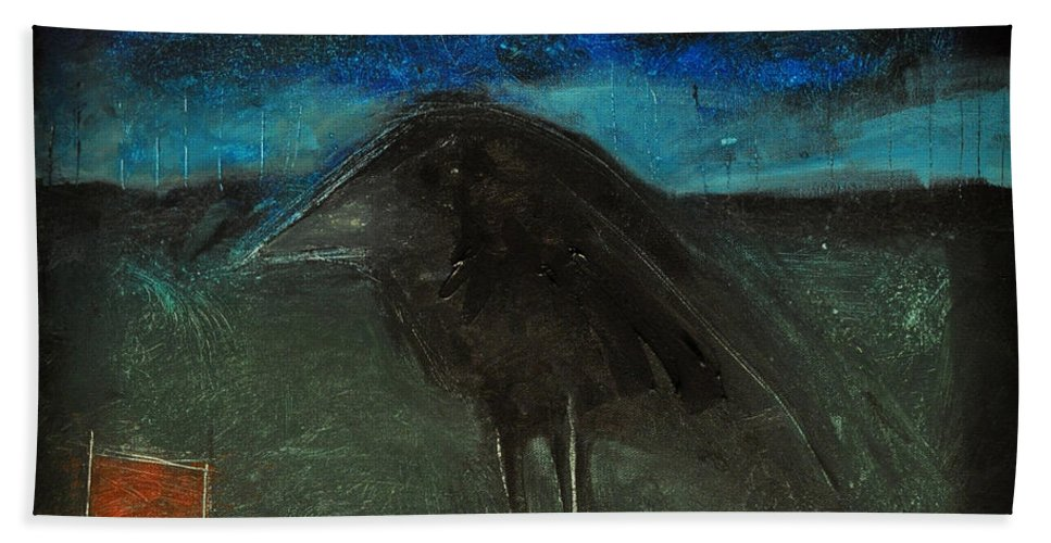 Bird Bath Sheet featuring the painting Night Bird With Red Square by Tim Nyberg