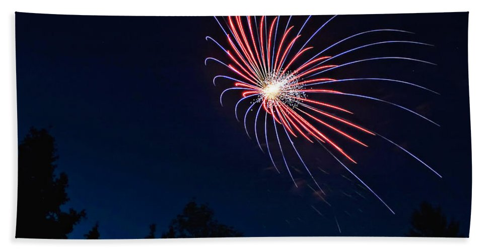 Fireworks Hand Towel featuring the photograph Night Bloom by Steve Harrington