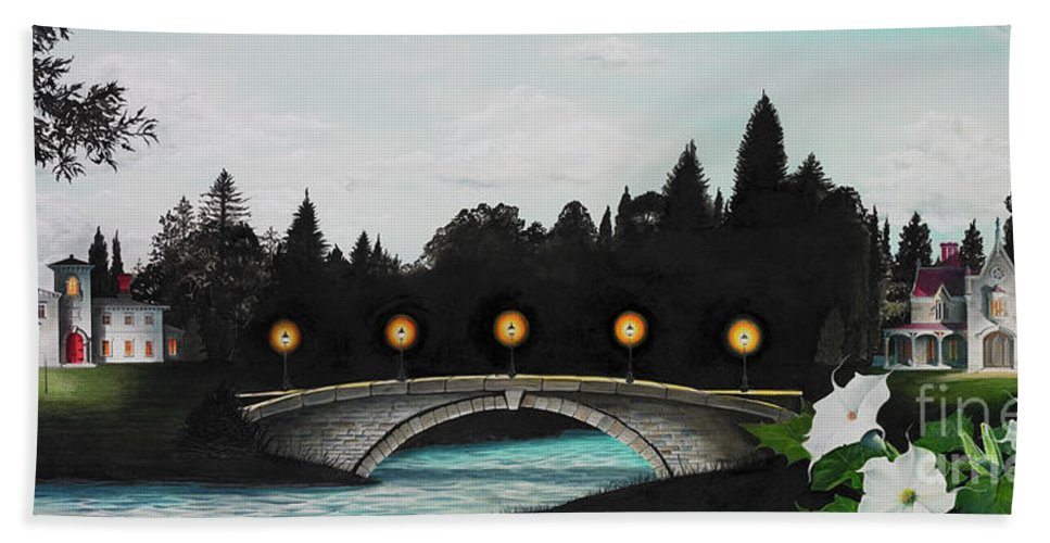 Architecture Bath Towel featuring the painting Night Bridge by Melissa A Benson