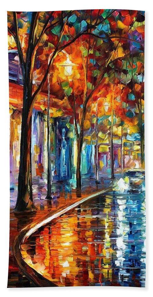 Afremov Bath Sheet featuring the painting Night Cafe by Leonid Afremov