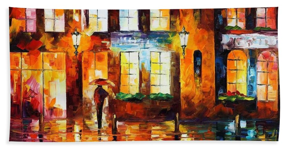 Afremov Bath Sheet featuring the painting Night City by Leonid Afremov