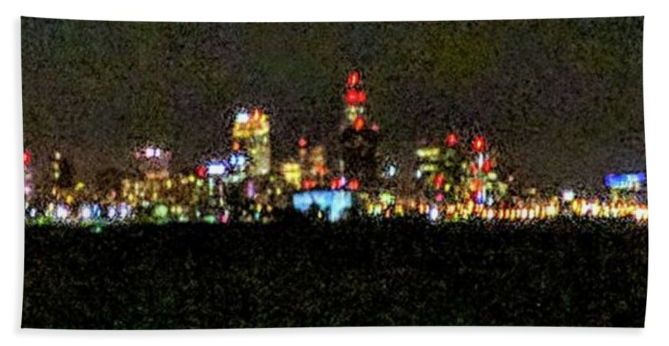 Skyline Bath Sheet featuring the photograph Night Cleveland by George Noleff
