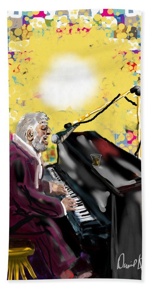 Older Male Singer Piano Vivid Colors Jazz Club Bath Sheet featuring the digital art Night Club Singer by David R Keith