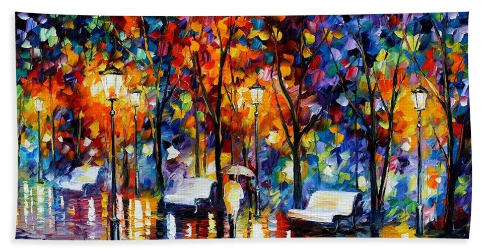 Afremov Bath Sheet featuring the painting Night Copenhagen by Leonid Afremov