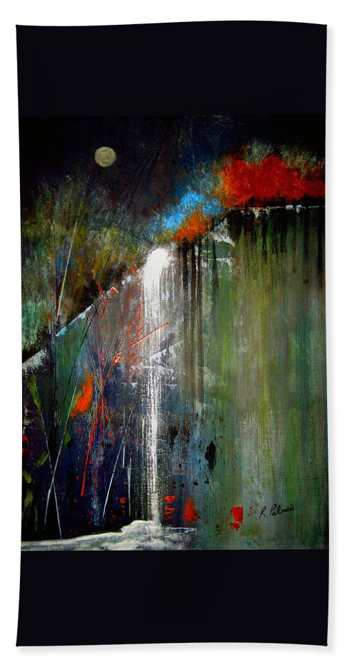 Abstract Hand Towel featuring the painting Night Falls by Ruth Palmer