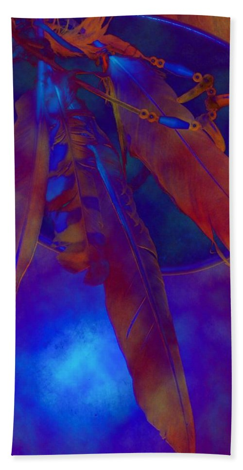 Night Feathers Bear Claws Birds Native Aboriginal Metis Plains Indian Wildlife North American Indian Bath Towel featuring the digital art Night Feathers  -019 by Will Logan