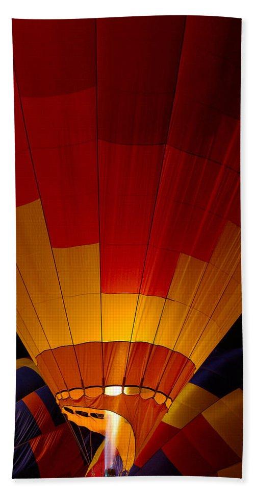 Balloon Bath Towel featuring the photograph Night Flight by Mike Dawson
