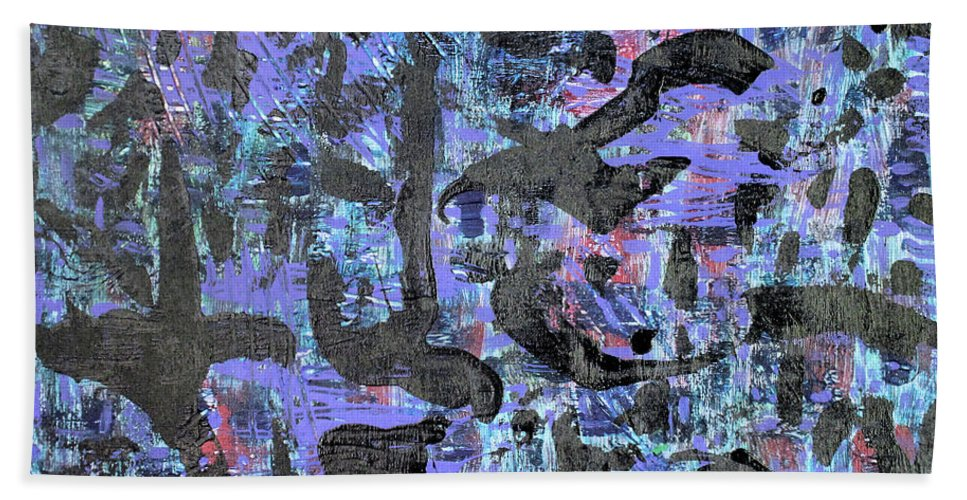Bath Towel featuring the painting Night Flight by Pam Roth O'Mara