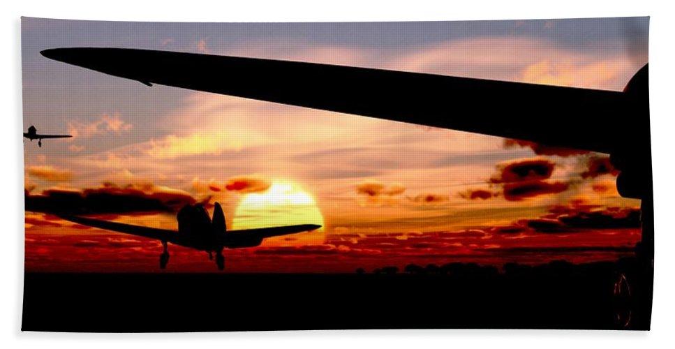 Aviation Bath Sheet featuring the digital art Night Hawks by Richard Rizzo