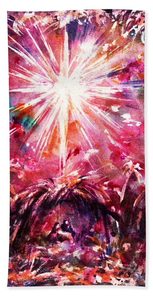 Abstract Hand Towel featuring the painting Night In Bethlehem by Rachel Christine Nowicki