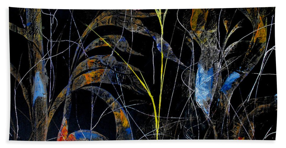 Abstract Bath Sheet featuring the painting Night Life by Ruth Palmer